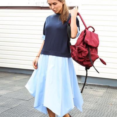 Купить трикотажное платье с ассиметричной юбкой