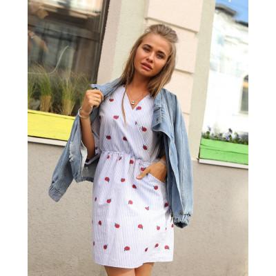 Купить летнее платье-халат в полоску с запахом