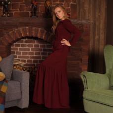 Бордовое вечернее casual-платье с карманами и воланом