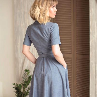 Купить джинсовое платье с запахом на груди