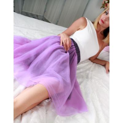 Купить сиреневую юбку-пачку из фатина недорого
