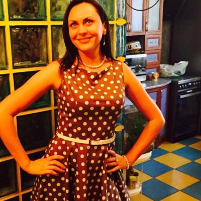Покупательница Ольга в платье в горошек из «Красотки»
