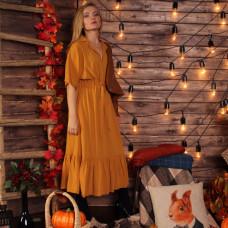Горичичное осеннее платье в стиле бохо