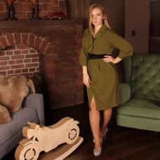 Платье-рубашка хаки в митилари-стиле
