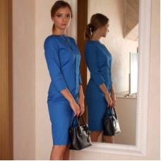 Синее деловое платье-футляр в стиле фильма «Форс-мажоры» (Suits)