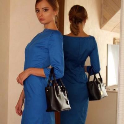 Купить недорого синее деловое платье футляр