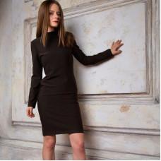 Платье водолазка тёплое коричневое