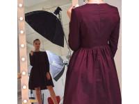 Платье марсала приталенное с пышной юбкой