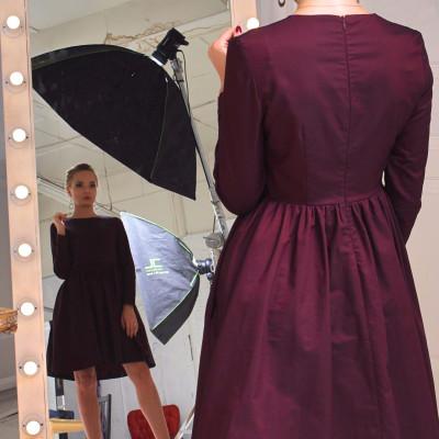 Купить платье марсала с пышной юбкой и карманами