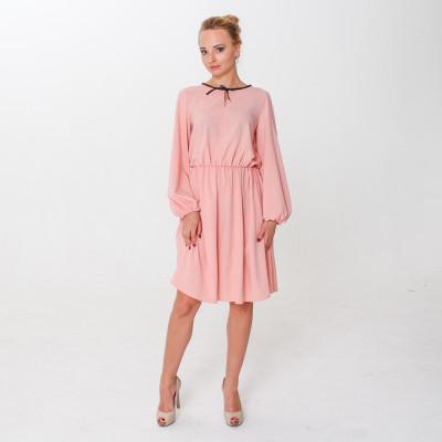 Купить розовое романтичное платье с черным бантом